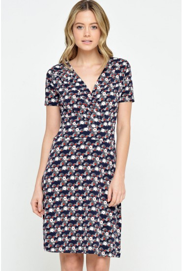 Ophelia Print Wrap Over Dress in Navy