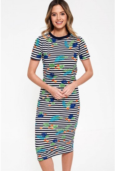 Kemptown Organic Cotton Midi Dress in Navy Stripe