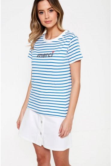 Mimi Organic Cotton T-shirt in Blue Stripe