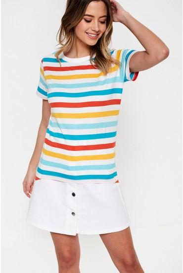 Mimi Organic Cotton T-shirt in Multi Stripe