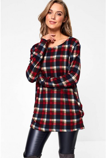 Lilly Oversized Check Top in Red