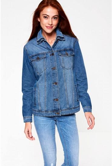 Ole Oversized Denim Jacket in Medium Blue