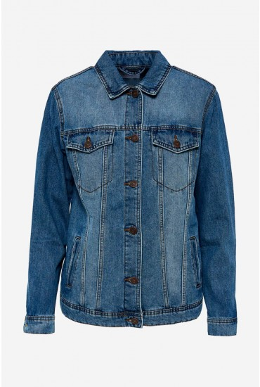 Ole Oversized Denim Jacket in Medium Blue