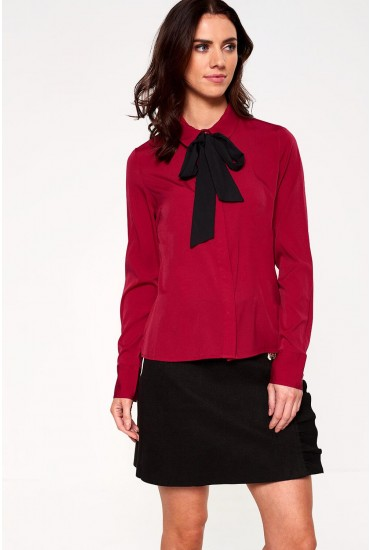 Viola Bow Neck Long Sleeve Printed Shirt in Burgundy