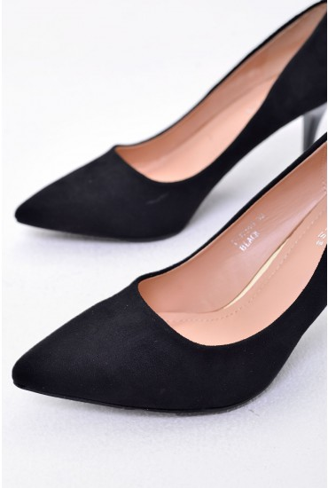 Sydney Pointed Suede Court Shoe in Black