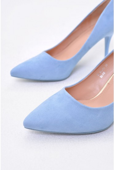 Sydney Pointed Suede Court Shoe in Sky Blue