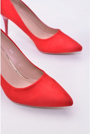 Sydney Pointed Suede Court Shoe in Red
