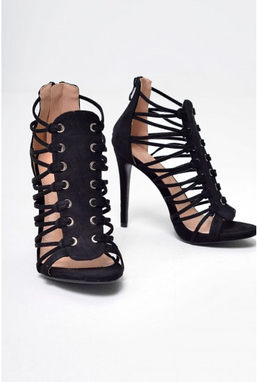 Neola Suede Heeled Sandals in Black