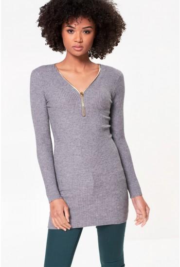 Pamela Long Sleeve Ribbed Top in Grey