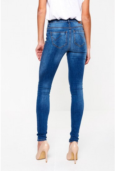 Paola Regular High Waist Skinnies in Mid Wash