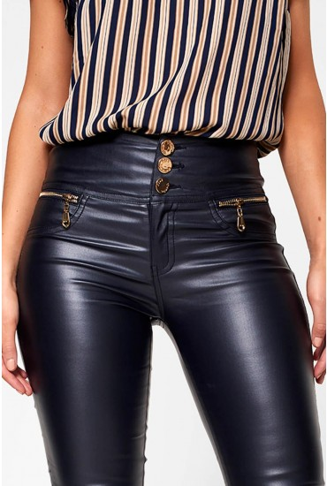 Paris High Waisted Wax Look Trousers in Navy