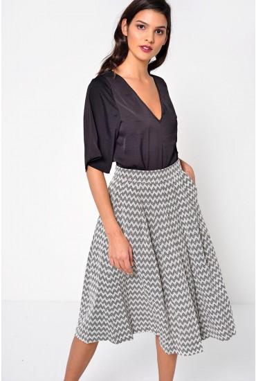 Pasadena Zigzag Jacquard Midi Skirt