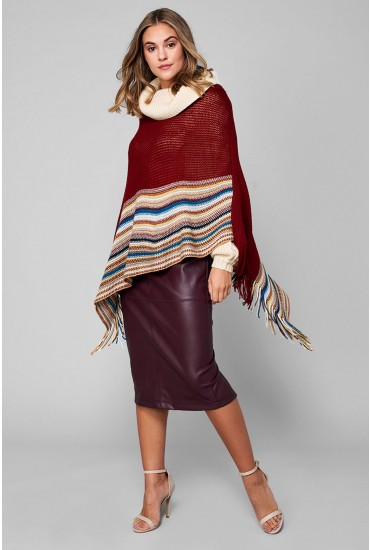 Asher Knitted Poncho with Tassle Trim in Red