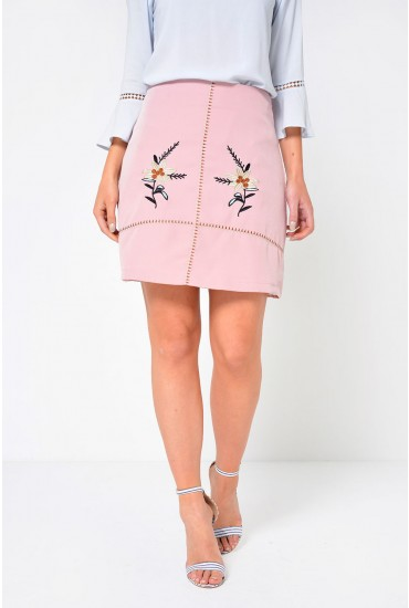 Freya Embroidered Short Skirt in Blush