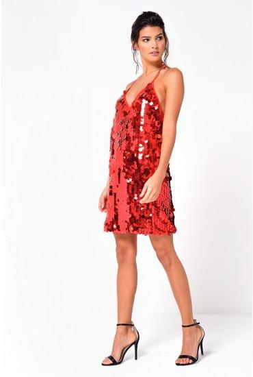 Cindy Disc Cami Dress in Red