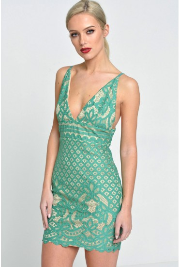 Becky Strappy Lace Crochet Dress in Saphire