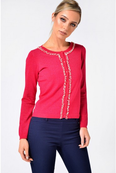 Pea Pearl Trim Lurex Cardigan in Fuchsia