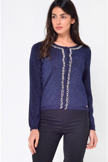 Pea Pearl Trim Lurex Cardigan in Navy