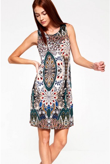 Atolo Peacock Print Tunic Dress