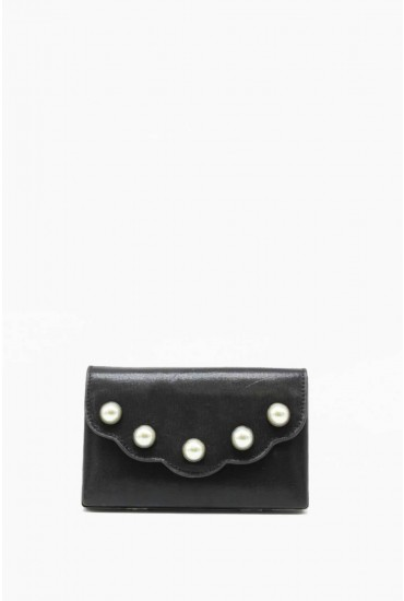 Lizzie Pearl Embellished Clutch Bag in Black