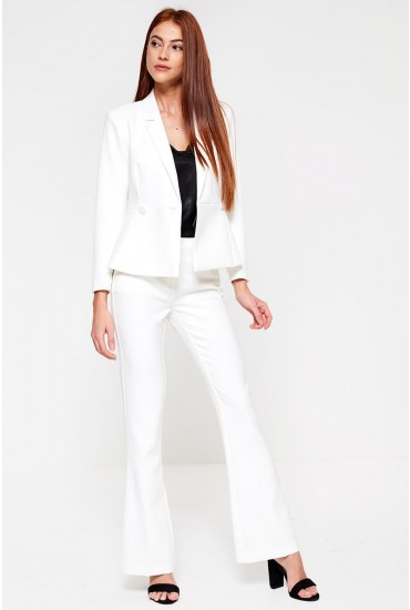 Pepla Wide Leg High Rise Trousers in White