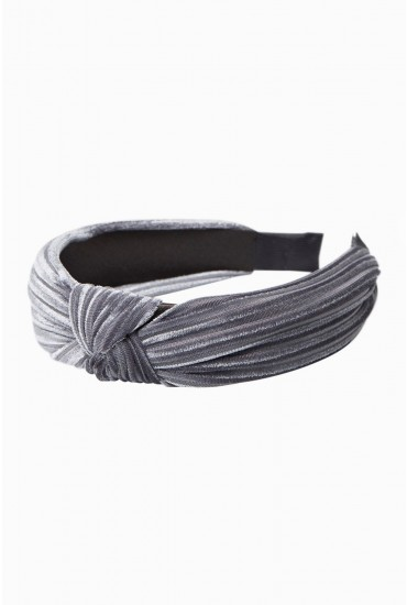 Pernilla Velvet Knot Hairband in Grey