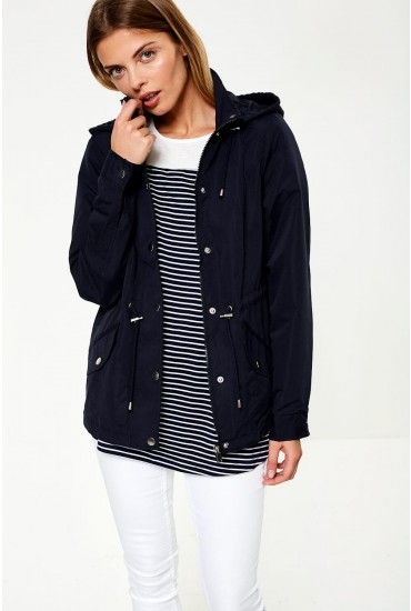 Pernille Short Parka Jacket in Navy