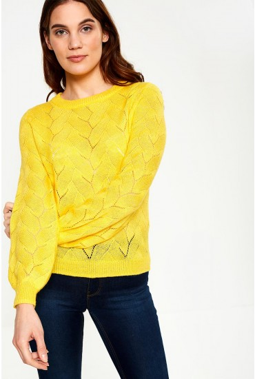 Peta Knit Jumper With Balloon Sleeve in Yellow