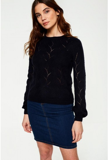 Peta Knit Jumper with Sleeve Balloon in Navy