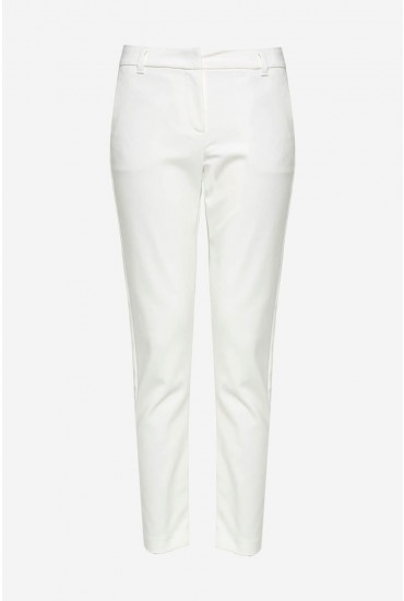 Leah Petite Classic Trousers in White