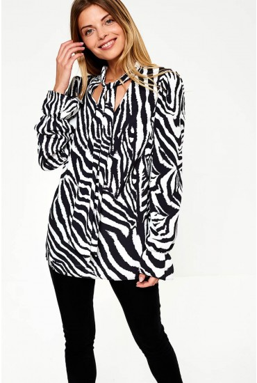 Peyton Tie Neck Blouse in Zebra Print