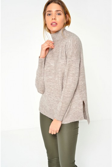 Jessica Turleneck Jumper in Taupe