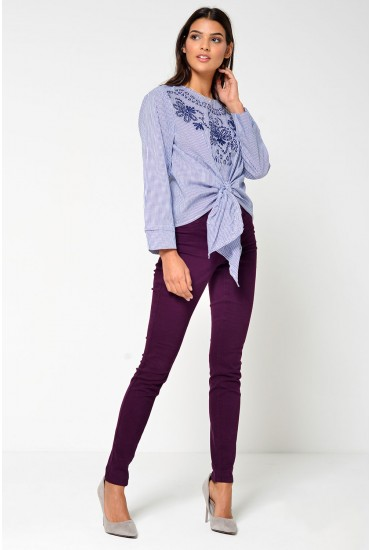 Nora Embroidered Stripe Top