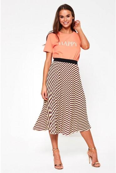 Ida Pleated Midi Skirt in Purple Stripe