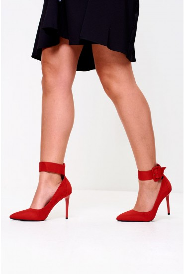 Kourtney Pointed High Heels in Red