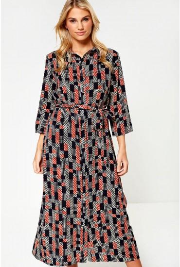 Lyric Printed Midi Dress in Navy
