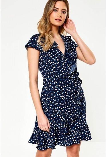 Oxana Printed Midi Wrap Dress in Navy