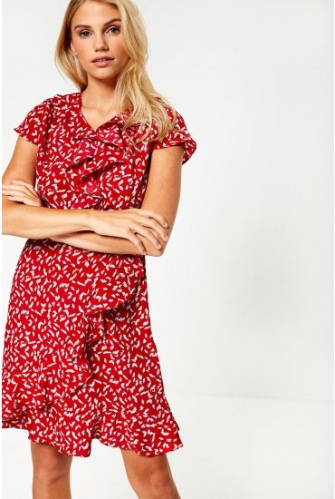 Oxana Printed Midi Wrap Dress in Red