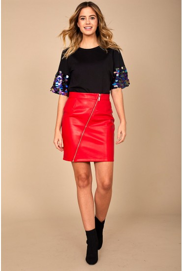 Penja PU Skirt in Red