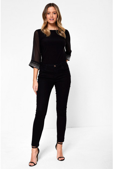 Daisy Petite Push Up Ankle Jeans in Black