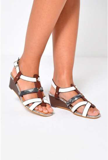Antonio Strappy Wedge Sandals in White