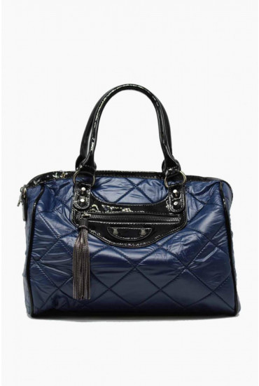 Zac Quilted Handbag in Navy
