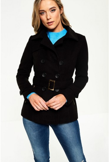 Quinn Belted Short Coat in Black