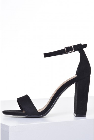 Molly Block Heel Sandals in Black Suede