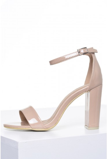 Molly Block Heel Sandals in Nude Patent
