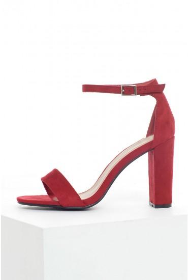 Molly Block Heel Sandals in Red Suede