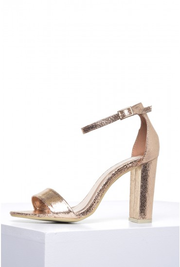 Molly Block Heel Sandals in Rose Gold