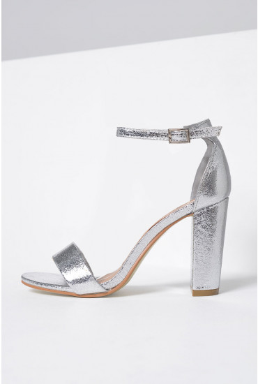 Molly Block Heel Sandals in Silver
