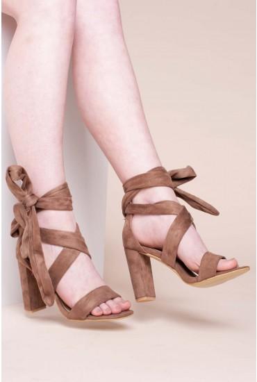 Marian Tie Up Sandals in Mocha Suede