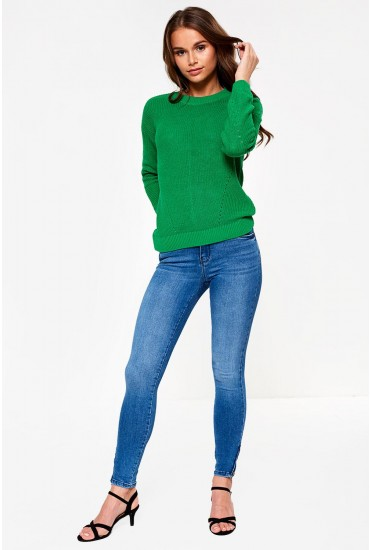 Kimmy Petite Ankle Zip Jeans in Light Blue Denim